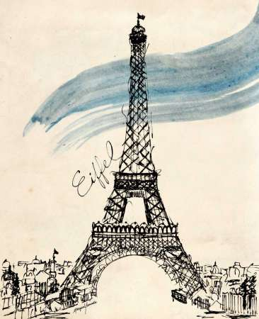 Eiffel Tower in Pen poster print by Morgan Yamada