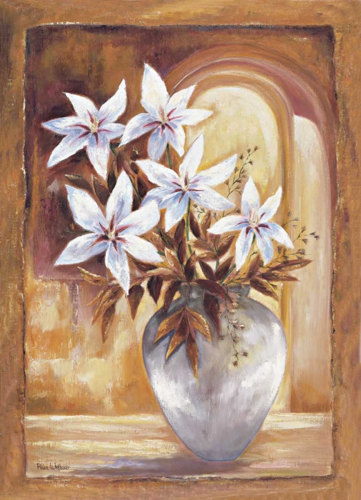 White flowers in vase II poster print by Rian Withaar