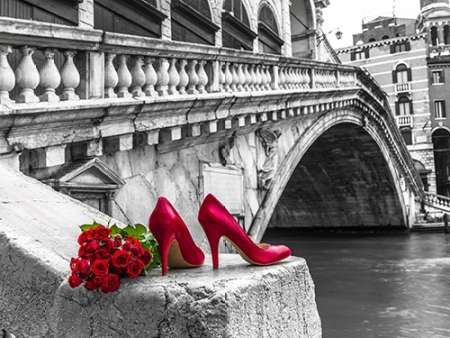 Bunch of red roses and red high heel shoes, Rialto Bridge, Venice, Italy poster print by Assaf Frank