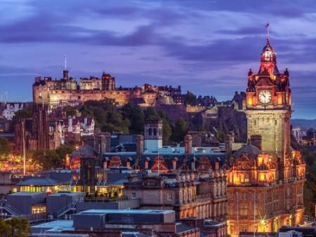 Edinburgh Castle and The Balmoral Hotel, Scotland poster print by Assaf Frank