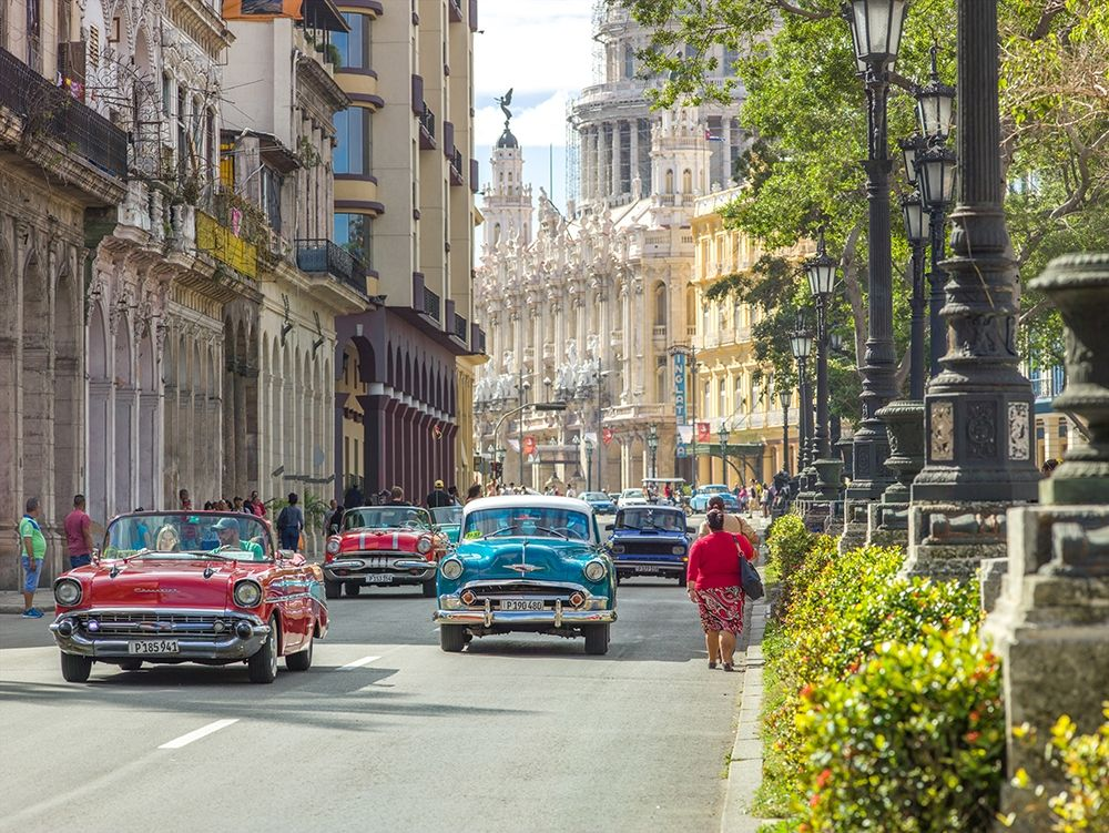 Vintage cars on Havana street, Cuba poster print by Assaf Frank