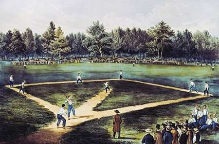 The American National Game of Baseball at The Elysian Fields poster print by  Currier and Ives