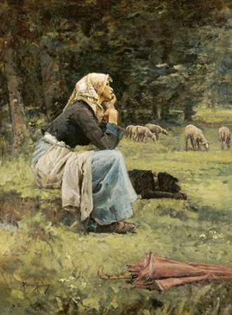 A Young Shepherdess poster print by Pierre Billet