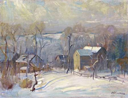 Village In Snow poster print by Arthur Clifton Goodwin