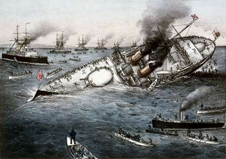 Sinking of The Battleship Victoria Off Tripoli,Syria, June 22, 1893 poster print by  Currier and Ives