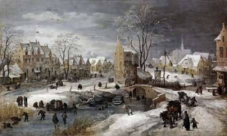 A Village In Winter poster print by Joos the Younger De Momper