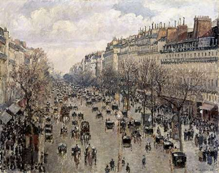 Boulevard Montmartre In Paris poster print by Camille Pissarro
