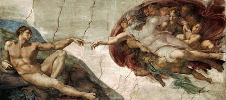 Creation of Adam - Detail poster print by  Michelangelo