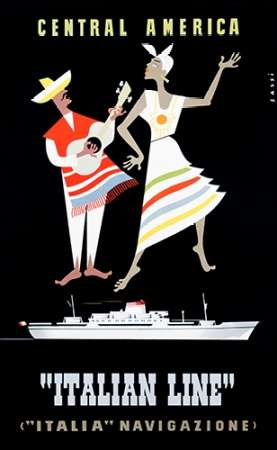 """Italian Line"" / Central America poster print by Alda Sassi"