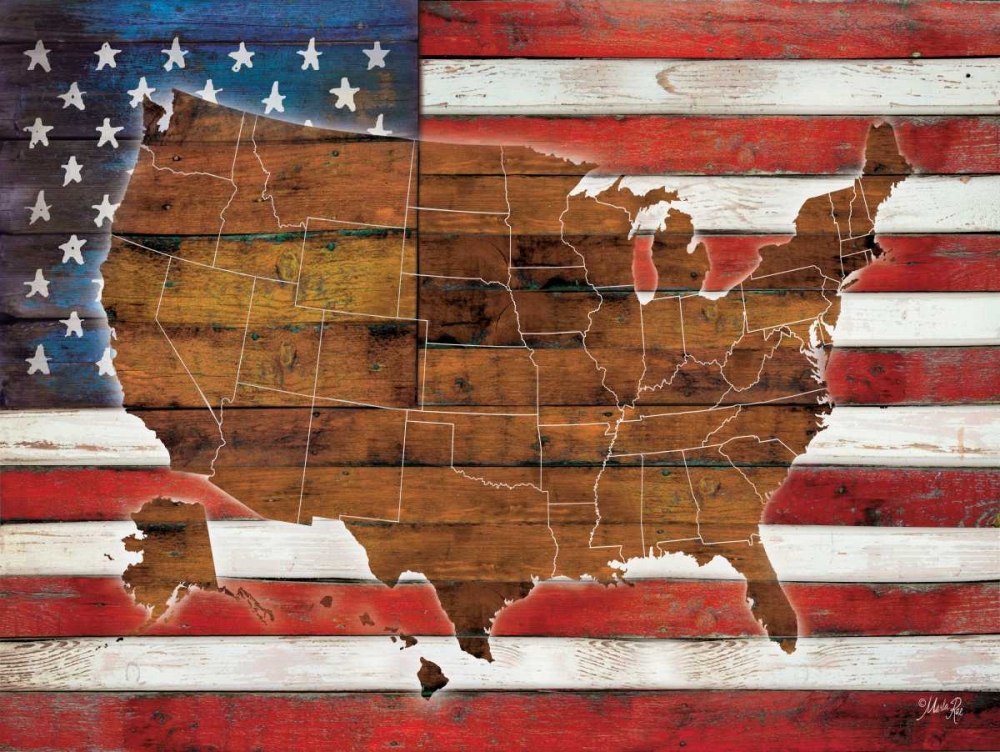 American Flag USA Map  poster print by Marla Rae