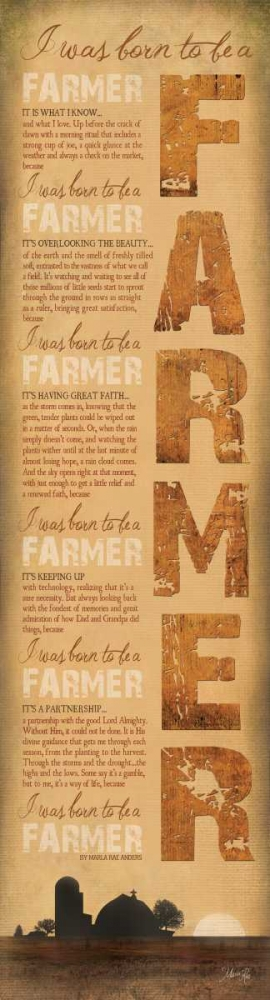 Born to be a Farmer poster print by Marla Rae