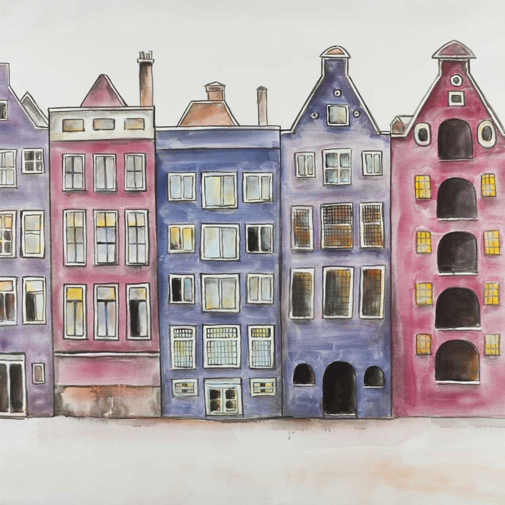 Old Historic Houses Amsterdam poster print by  Atelier B Art Studio