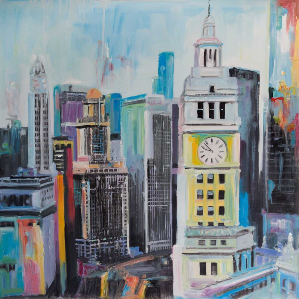 Colorful Cityscape of Manhattan poster print by  Atelier B Art Studio