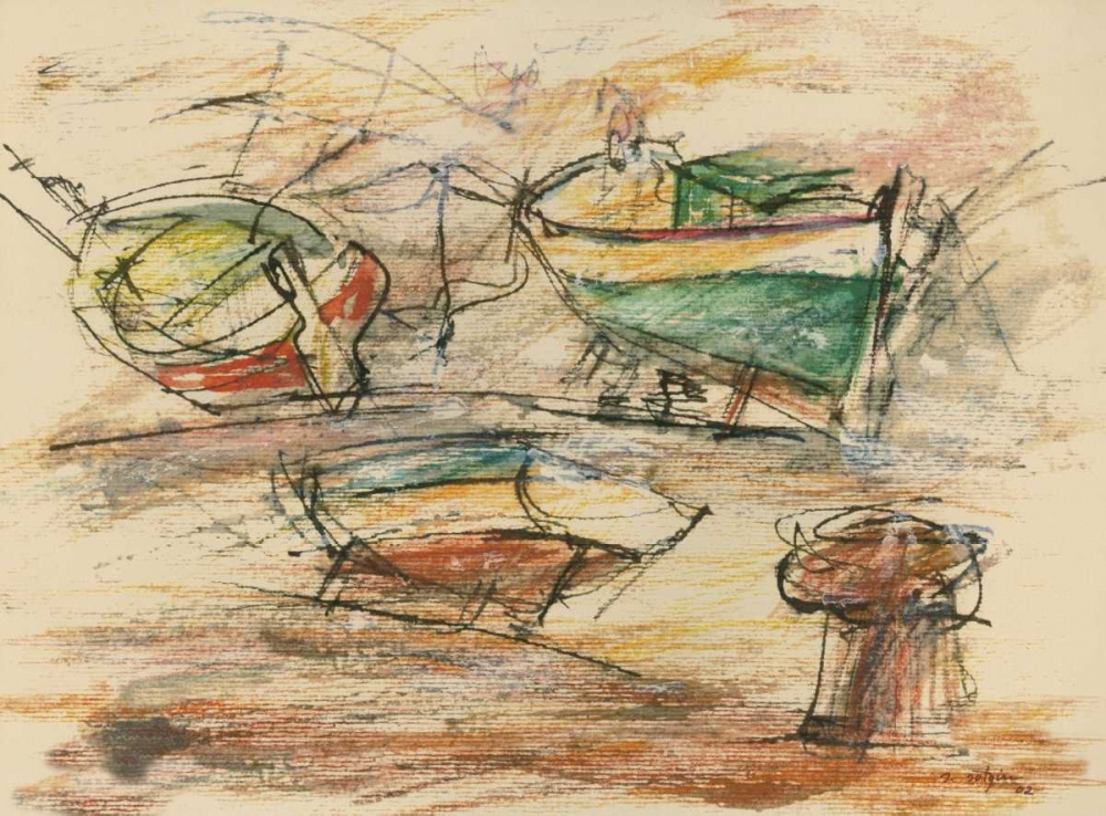 Boats at the pier I sea port poster print by Salvatore Sotgiu