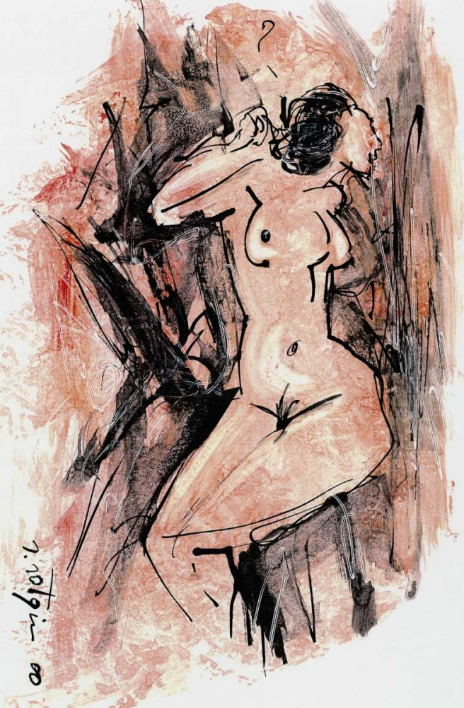Naked woman in pink sitting poster print by Salvatore Sotgiu