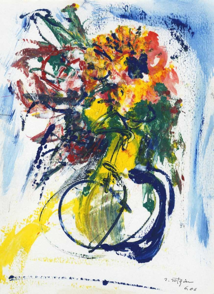 Blue and Yellow Still Life blu poster print by Salvatore Sotgiu