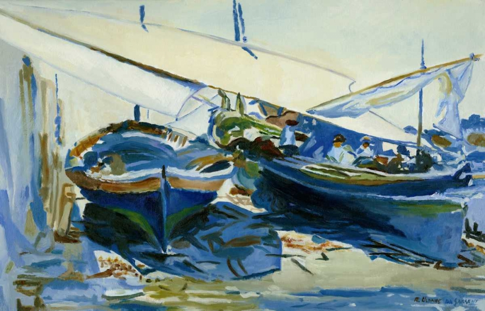 Two boats with lowered sails poster print by Roberto Uldanc