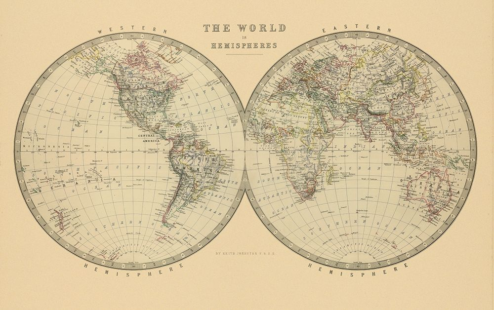 The World in Hemispheres 1912 poster print by A K. Johnston