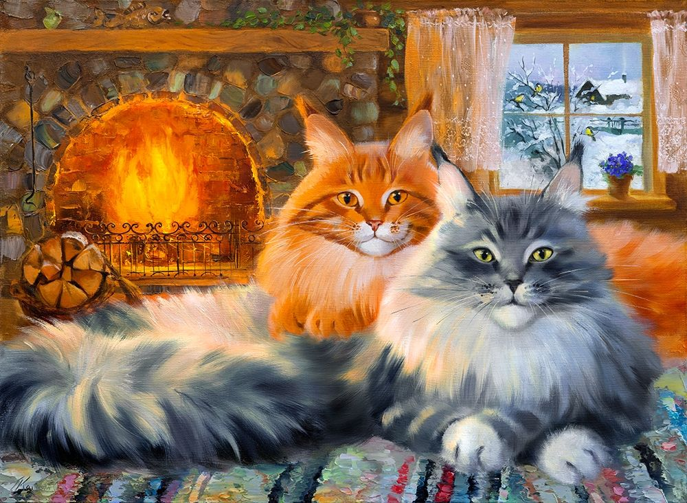 By the fireplace. In the country poster print by Galina Kotinova