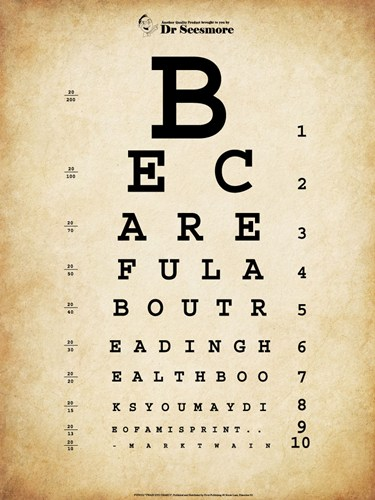 Mark Twain Eye Chart poster print by  Unknown