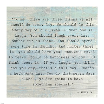 Three Things, Jimmy V Quote poster print by  Unknown