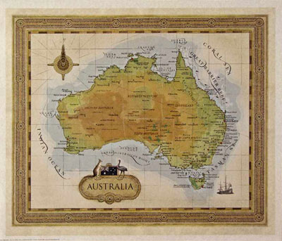 Australia Map Poster.Map Of Australia Unknown Art Prints Posters Picturestore