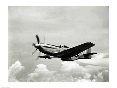 Low angle view of a military airplane in flight, F-51 Mustang poster print by  Unknown