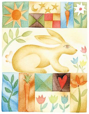 Rabbit Quilt poster print by  Running Rhino