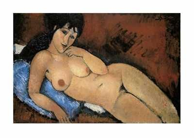 Nude on a Blue Cushion poster print by Amedeo Modigliani