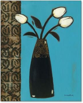 White Flowers Black Vase I poster print by Norman Wyatt Jr