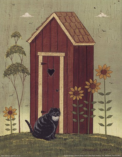 Outhouse with Cat poster print by Warren Kimble