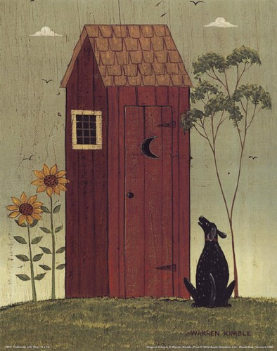 Outhouse with Dog poster print by Warren Kimble