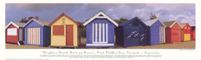 Brighton Beach Bathing Boxes poster print by Phil Gray
