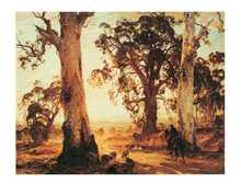 Droving into the Light poster print by Hans Heysen