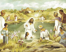 Baptism At River's Edge poster print by Beverly Lopez
