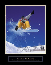 Courage - Snowboarder poster print by  Unknown