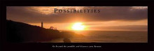 Possibilities - Lighthouse At Sunset poster print by Michelle Mara