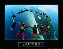 Teamwork-Skydivers II poster print by  Unknown