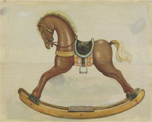 Brown Rocking Horse poster print by Catherine Becquer