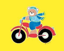 Bear on Motorcycle poster print by Shelly Rasche