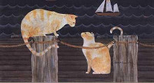 Cats on Dock poster print by Valorie Wenk