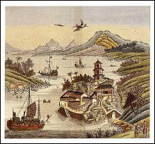 Chinese Temple and River Scene poster print by  Various Artists