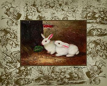 Bunny on Toile IV poster print by  Arts Uniq Exclusives
