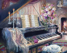 Sonata By Firelight (Mini) poster print by Judith Gibson