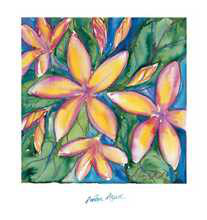 Pink Frangipani poster print by Annique Azure