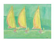 Three Boats on Green poster print by Juliet Barr