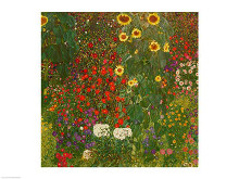 Farm Garden with Flowers poster print by Gustav Klimt