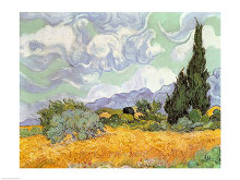 Wheatfield with Cypresses, 1889 poster print by Vincent van Gogh