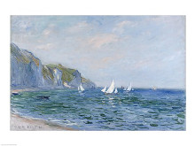 Cliffs and Sailboats at Pourville poster print by Claude Monet