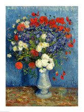 Still Life: Vase with Cornflowers and Poppies, 1887 poster print by Vincent van Gogh